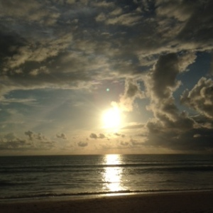 sun over the beach